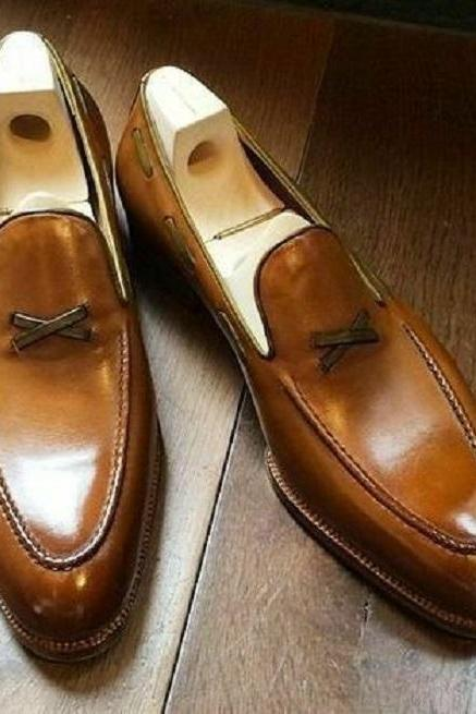 Handmade Men's Two Tone Tan Brown Loafer Slips On Formal Dress Handmade Leather Shoes