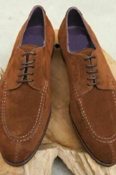 New Handmade Men Brown Color Suede Leather Shoes, Lace Up Formal Shoes