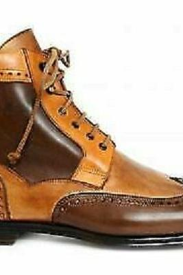 Handmade Men Superior Brown Tan Two Tone Leather High Ankle Men Lace Up Customized Boots