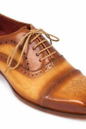 New Handmade Men's Cap Toe Oxfords Tan Brown Leather Formal Wear Casual Boots