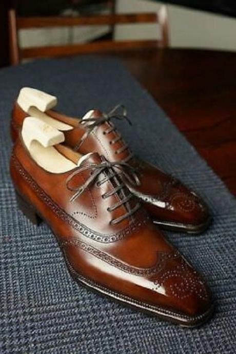Handmade brown leather shoes, wingtip brogue dress shoes, lace up shoes