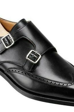 Handmade Men's Black Color Monk Double Buckle Straps Brogue Toe Wing Tip Genuine Leather Shoes