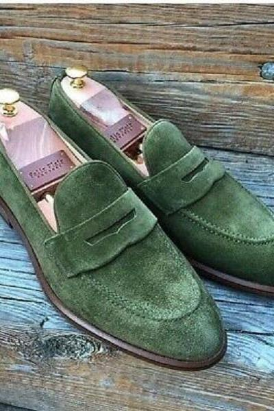 Handmade Men Slip On Suede Formal Shoes, Loafer Tussles Green Moccasins Shoes