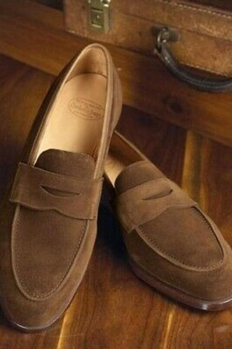 Handmade Men Slip On Suede Formal Shoes, Loafer Tussles Brown Moccasins Shoes