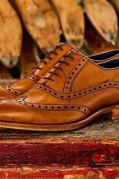 Handmade Men's Brown Leather Wing Tip Brogue Lace Up Up Formal Dress Casual