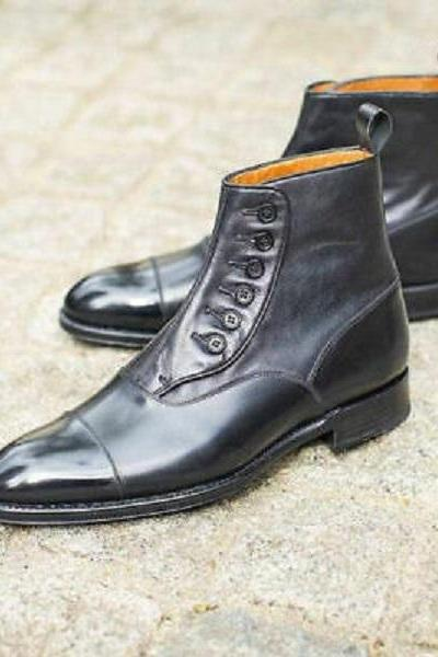 Handmade Men's Black Leather Button Ankle Leather Formal Wear Casual Shoes